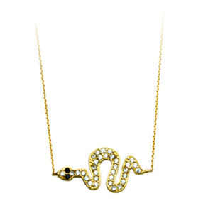 14K Yellow Gold CZ Snake Necklace